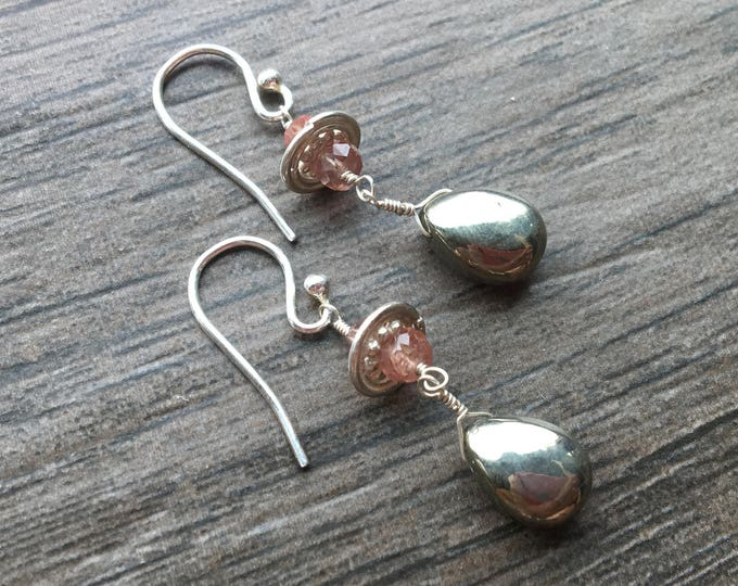 Smooth Pyrite and Golden Spessartite Bali Silver Earrings Sterling Silver Unique Ecclectic