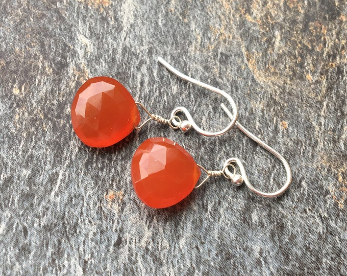 Carnelian and Sterling Silver LIttles Earrings, Dainty, Delicate, Small, Minimalist Healing Chakra Energy Gemstones Inspirational Gift