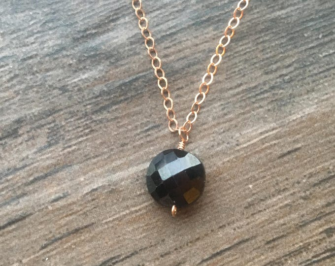 Faceted Black Spinel Coin on Rose Gold Chain Littles Necklace  Delicate Gift Special Healing Chakra Energy Gemstones Inspirational Gift