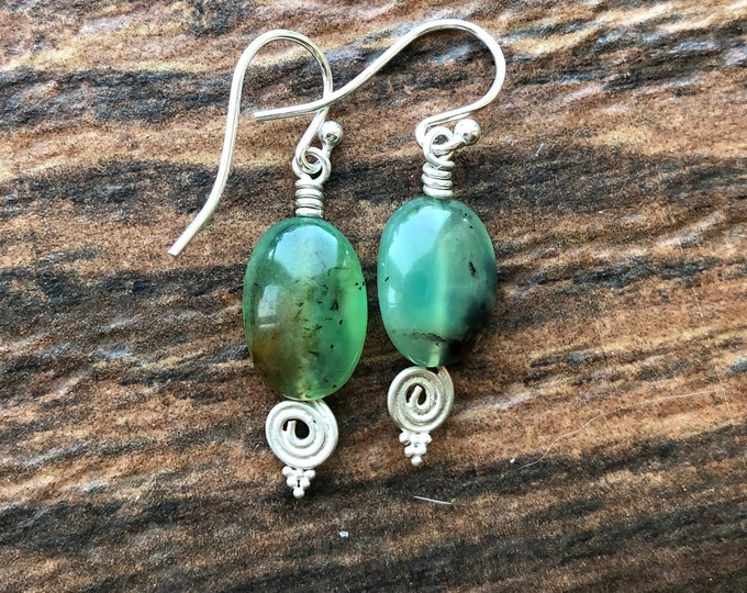 Mint Green Chrysoprase Unalome Earrings Good Luck Healing Energy Chakra Talisman Good Luck Intent
