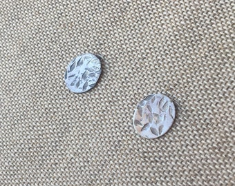 Hammered Sterling Silver Textured Oval Stud Post Earrings Simple Minimalist Basic Everyday
