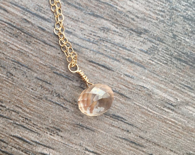 Gold Filled Golden Quartz Delicate Dainty Littles Necklace Healing Chakra Energy Gemstones Inspirational Gift