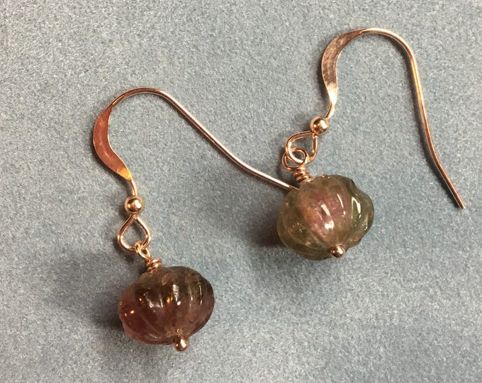 Watermelon Tourmaline Pumpkin Earrings in Rose Gold Healing Chakra Energy Gemstones Inspirational Gift
