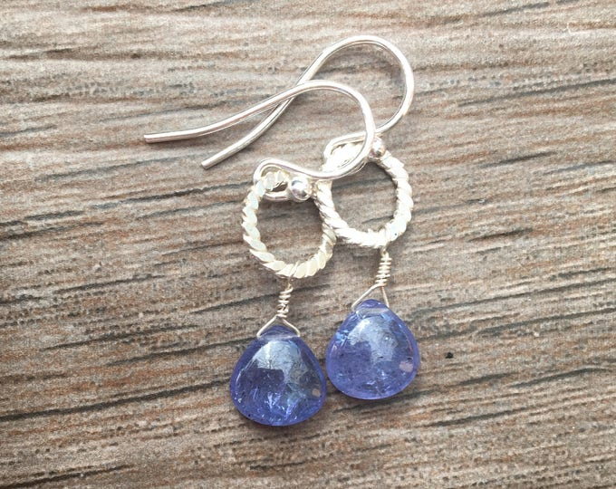 Smooth Tanzanite and Hammered Sterling Silver Earrings Bridal Gift Special