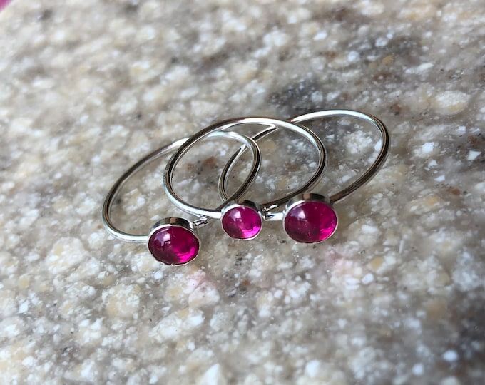 Simple Smooth Ruby Sterling Silver Stacker Ring Lab Created Pink Good Luck July Birthstone 5mm
