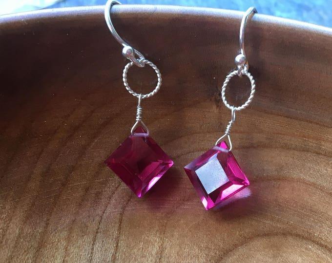 Pink Quartz Diamond Shaped Earrings in Sterling Silver