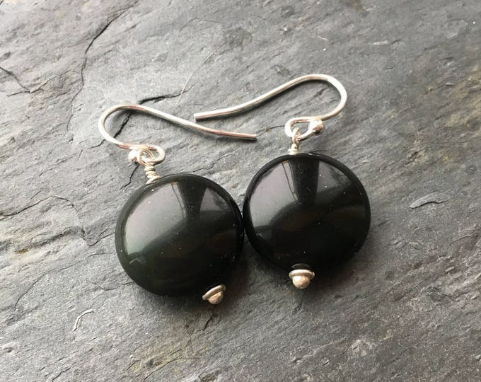 Black Rainbow Obsidian Smooth Coin Littles Earrings Sterling Silver Minimalist basic Affordable Cute