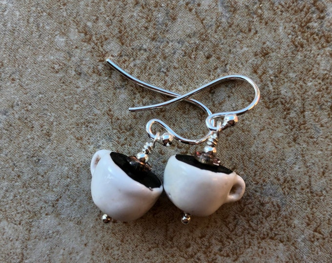 Fun Whimsical Ceramic Coffee Earrings Sterling Silver