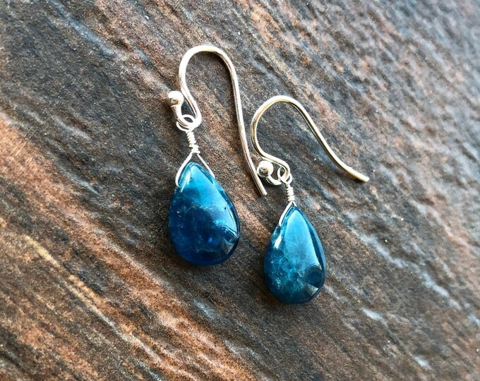 Simple Smooth Blue Apatite Earrings Talisman Good Luck Memorial Basic Minimalist Everyday Free Ship