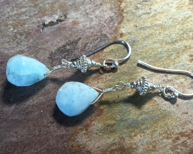 Larimar and Bali Silver Earrings