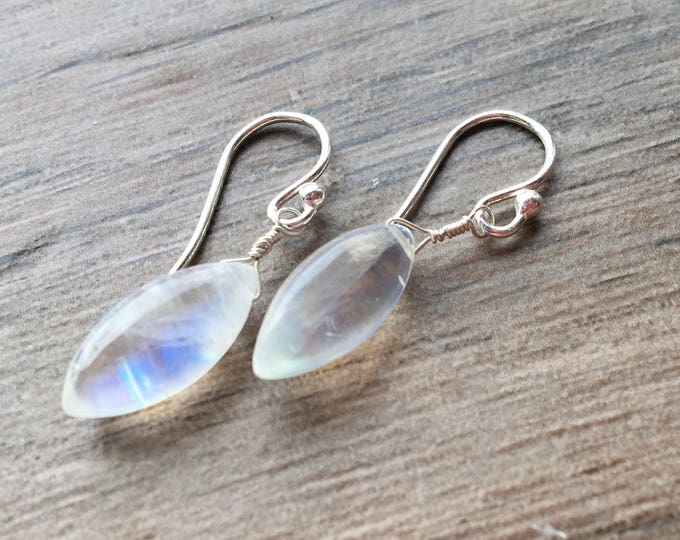 Smooth Rainbow Moonstone Marquis Shaped LIttles Earrings Delicate Dainty Special Unique Bridal Bridesmaid Wedding Gift