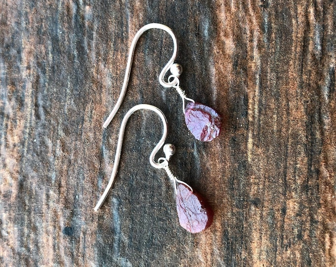 Simple Minimalist Hammercut Ruby Earrings Talisman July Birthstone Good Luck Pink Inspirational