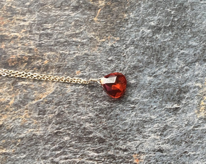 Red Cubic Zirconia Littles Necklace in Sterling Silver Healing Chakra Energy Gemstones Inspirational Gift