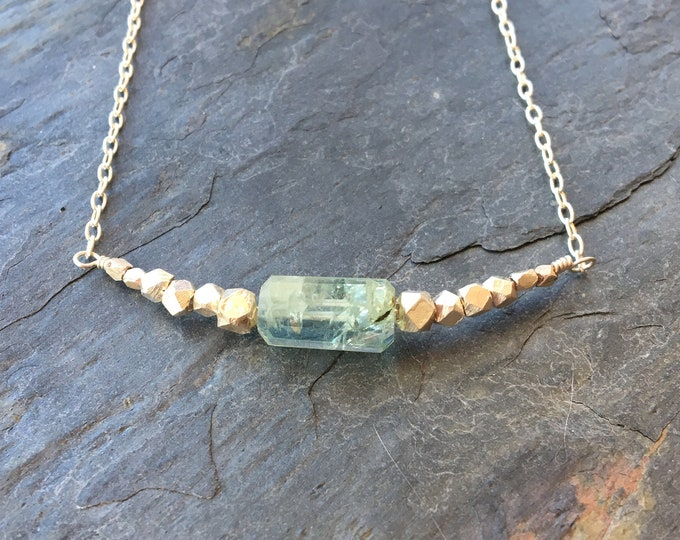 Aquamarine and Thai Silver Bar Necklace March Birthstone Gift