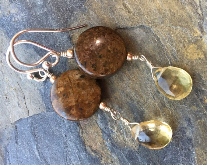 Bronzite and Citrine Earrings