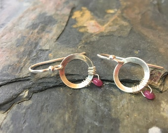Sterling Silver Circle Earrings with Tiny Smooth Ruby Accent Small Jewelry July Birthstone