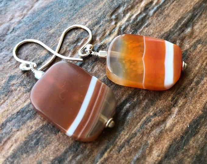 Orange and White Striped Carnelian Agate Littles Earrings Healing Talisman Intent Chakra Energy Good Luck OOAK