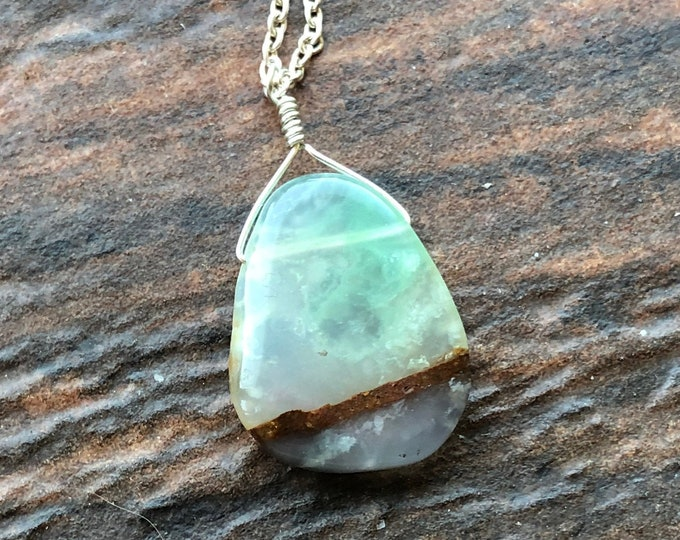 Mint Aquaprase Slice Littles necklace Natural OOAK Healing Gemstone Talisman Good Luck Intent Chakra