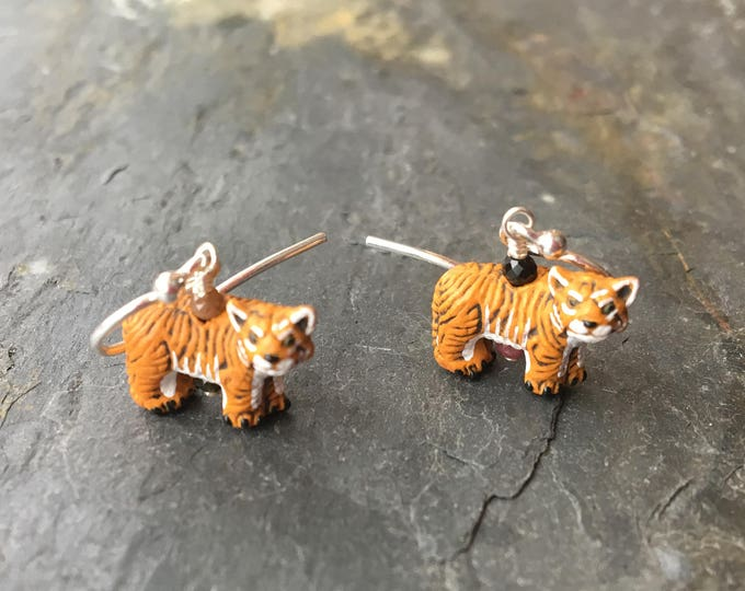 Ceramic Tiger and Tourmaline Littles Earrings Silly Fun Wildcat Orange Gift Healing Chakra Energy Gemstones Inspirational Gift Minimalist