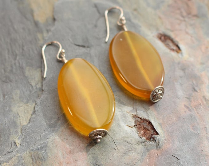 Golden Chalcedony and Sterling Silver Earrings