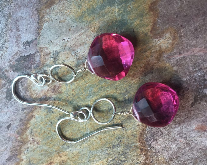 Pink Quartz and Sterling Silver Earrings