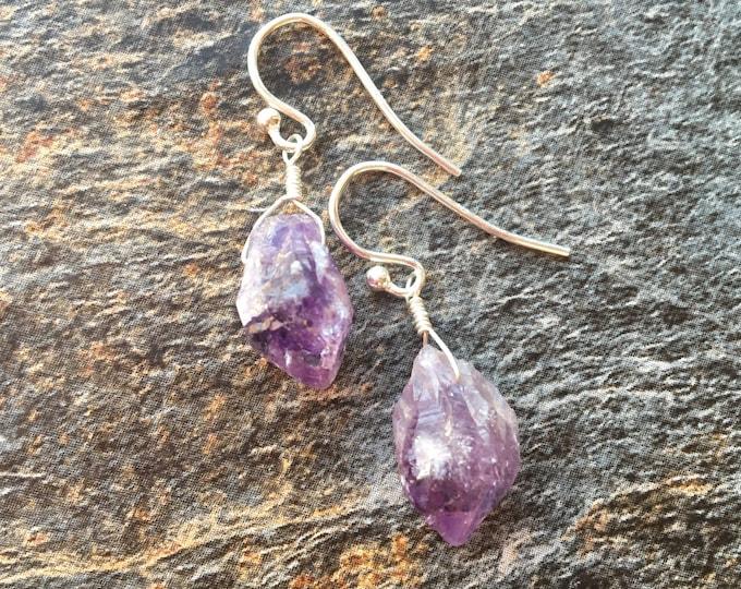 Raw Amethyst Littles Sterling Silver Earrings Organic Birthstone February Talisman Good Luck Simple