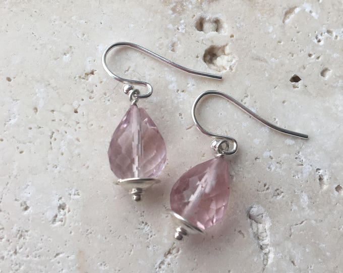Pink Beryl Sterling SIlver Littles Dainty Delicate Minimalist Talisman Healing Chakra Energy Gemstones Inspirational Gift