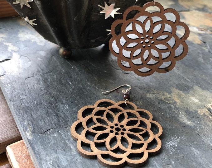 Laser Cut Wooden Flower Earrings Sterling SIlver Bali Silver Boho Hippie Summer Fun Light Nature Gift