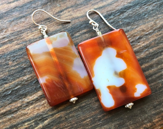 Orange Carnelian Agate Earrings Talisman Intent Healing Energy Good Luck