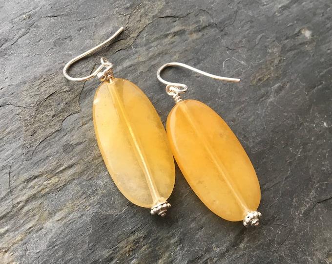 Yellow Aventurine Bali Silver Littles Earrings Talisman Good Luck Boho Healing  Chakra Energy Gemstones