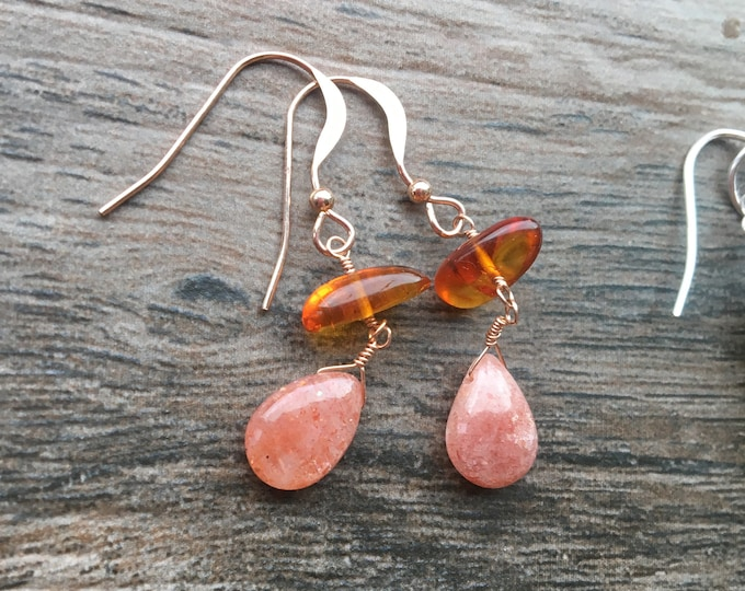 Amber Sunstone and Rose Gold Earrings Dangle Drop Orange Gift Talisman Inspirational Good luck