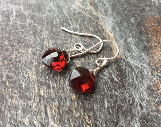 Sterling Silver and Mozambique Garnet Earrings minimalist, Delicate, Dainty, Small January Birthstone