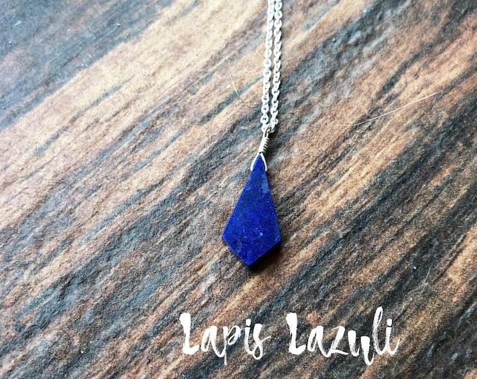 Deep Blue Lapis Lazuli Littles Kite Necklace Talisman, Good Luck, Healing Properties Sterling Silver