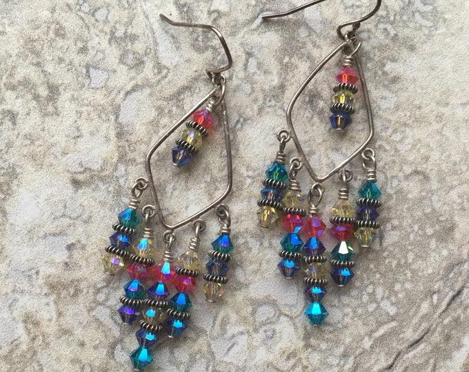 Summer Swarovski Chandelier Earrings Sterling Silver