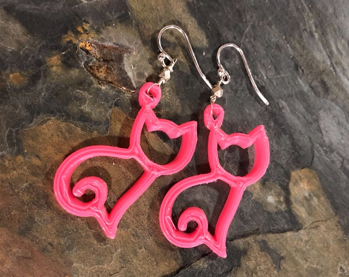 3D Printed Hot Pink Cat Kitten Kitty Earrings