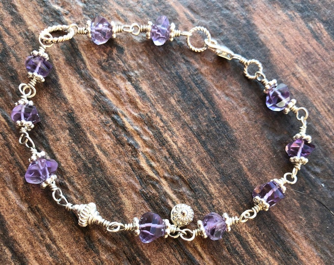 Helix Cut Amethyst and Bali Silver Bracelet  Sterling Silver Accents Wire Wrapped