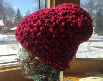 Bright Pink Merino Wool Warm Fashion Knit Crochet Hat Beanie Slouch Winter