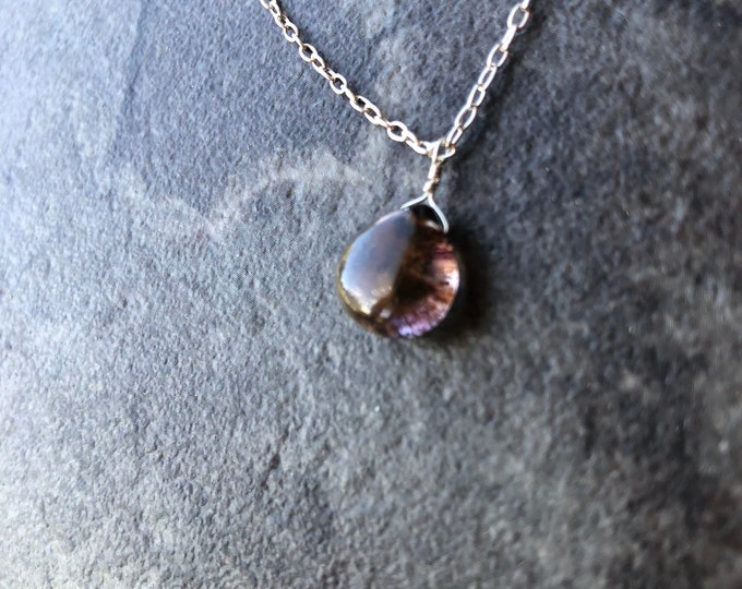Incredible Unique Smooth Moss Amethyst Inclusion Purple Littles Necklace