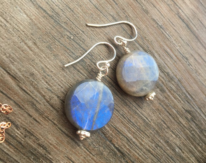 Faceted Coin Shaped Labradorite and Bali Silver Earrings Sterling Silver Blue Flash