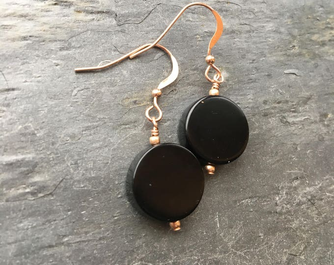 Black Onyx Smooth Round Rose Gold Filled Littles Earrings Talisman LBD Good Luck Simple Minimalist Modern Bridesmaid