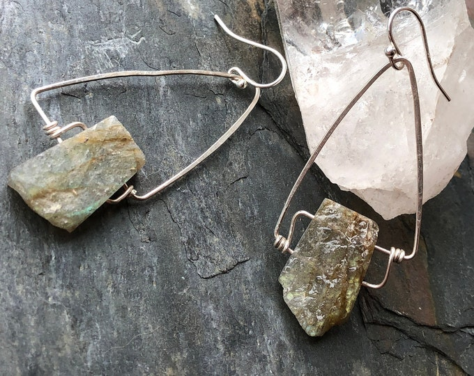 Labradorite and Triangle Wrap Dangle Earrings
