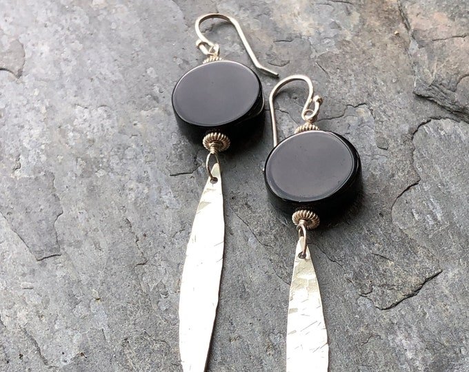 Smooth Onyx and Dangling Sterling Hammered Marquis Earrings
