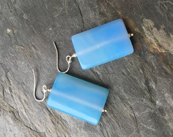 Smooth Sky Blue Chalcedony Rectangle Earrings