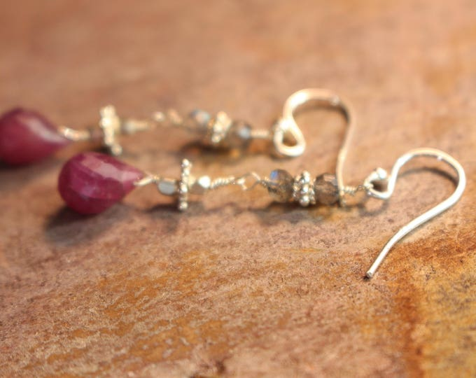 Pink sapphire and Bali Silver accent Earrings