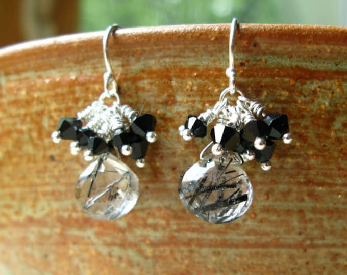 Delicious Handmade Black and White Rutilated Quartz and Swarovski Crystal Earrings LBD Gift Unique Striped
