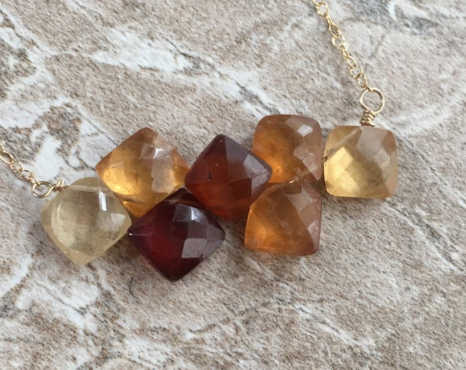 Multicolored Hessonite Garnet Cushion Cut Bar Necklace Gold Filled