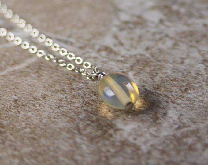 Smooth Ethiopian Opal October Minimalist Gemstone Necklace in Sterling Silver