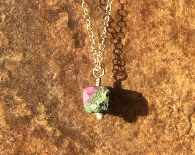 Ruby Zoisite Faceted Cube and Sterling Silver necklace