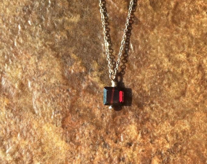 Almond Garnet Necklace on Sterling Silver