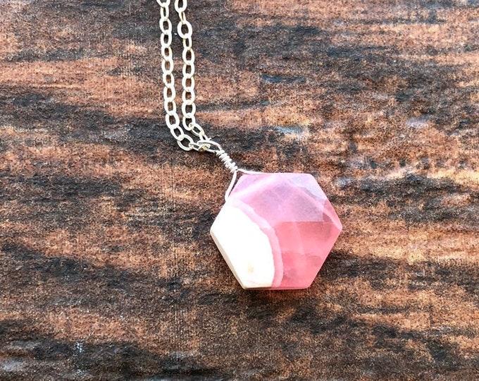 Faceted Hexagon Rhodochrosite Peach Coral Littles Necklace Good Luck Minimalist Unique